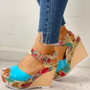 Shoes - Turquoise Floral Platform Wedge Sandals